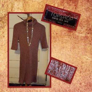 Topshop Marbled Turtleneck Sweater Dress